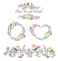 flowers and flower wreaths set in flat de vector image vector image