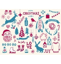 Hand drawn Christmas design elements vector image vector image