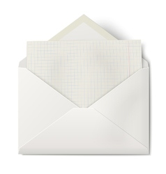 Opened envelope with sheet of squared paper inside vector image vector image