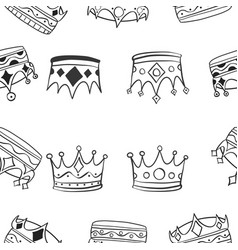 pattern of various crown hand draw vector image vector image