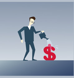 rich business man watering dollar sign money vector image vector image