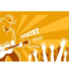 Country music festival poster with musician vector