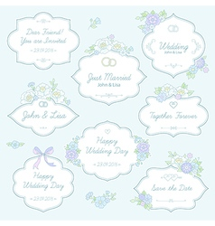 Floral wedding labels vector