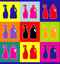 household chemical bottles sign pop-art vector image
