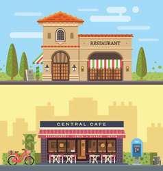 Landscape with restaurant and cafe vector image