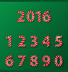 set of number in candy cane style vector image