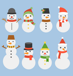 snowman collection for christmas and winter vector image