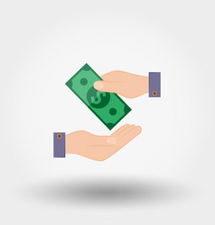 transfer money from hand to hand vector image vector image