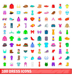 100 dress icons set cartoon style vector image