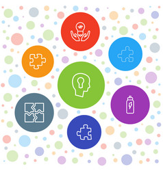 7 solution icons vector