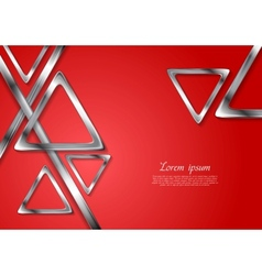 Abstract tech geometry metallic triangles vector image