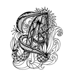 Adult coloring page with a letter of the alphabet vector