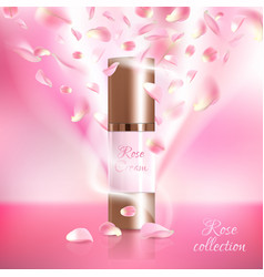 Advertising poster for cosmetic product with rose vector