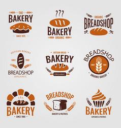 Artisan organic bakery logo set vector