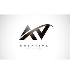 Av a v swoosh letter logo design with modern vector