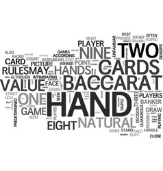 Baccarat for beginners free game tips text word vector