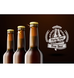 Banner for beer adwertisement with three realistic vector