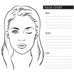 Beautiful woman portrait face chart template vector