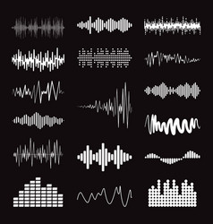 big collection white music wave on black vector image