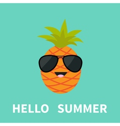 Big pineapple fruit with leaf wearing sunglasses vector