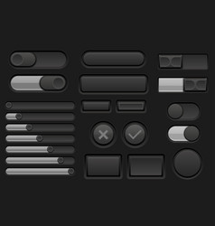 Black interface buttons set vector