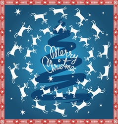 Blue Christmas card with flying deer vector