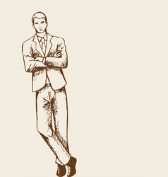 Businessman leaning with arm crossed vector