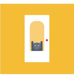 cat behid the door vector image