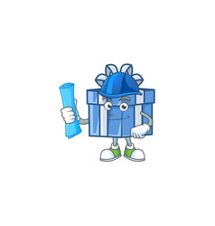 Cheerful architect blue gift box cartoon style vector