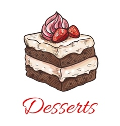 Chocolate cake with strawberry and cream sketch vector