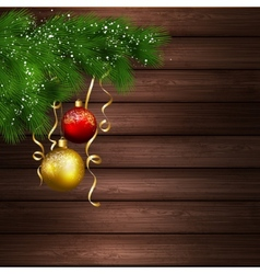 Christmas tree with balls in wood background vector image