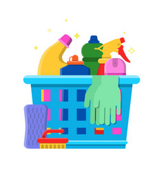 Cleaning bottles basket detergent laundry service vector