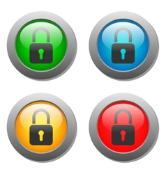 Closed lock icon on glass button set vector image