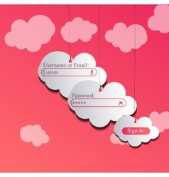 Clouds login page vector