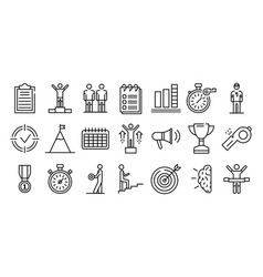 Coach icons set outline style vector