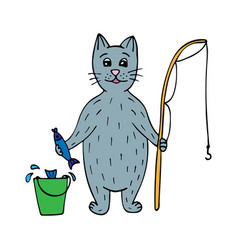cute hand-drawn cat fisherman with fish and a rod vector image