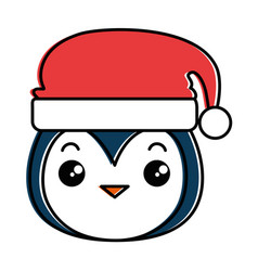cute penguin head with christmas hat kawaii vector image
