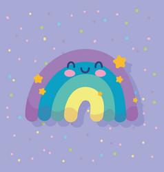 cute rainbow stars sky cartoon decoration colored vector image