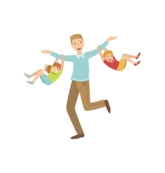Dad And Two Kids Hanging On His Arms vector image