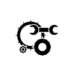 engineering support black icon sign on vector image