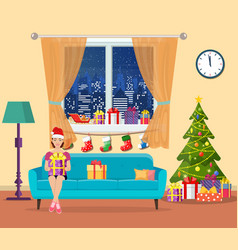 festive girl opening a gift vector image