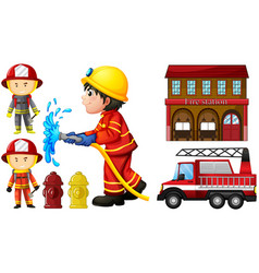 firefighters and fire station vector image