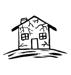 flat house insurance concept house being damaged vector image