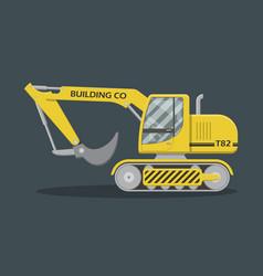 Flat yellow excavator vector