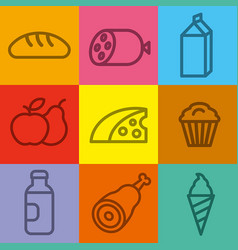 food and grocery icons vector image