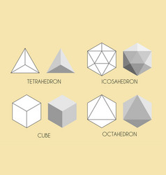 Four platonic solids sacred geometry vector