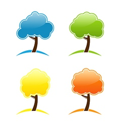 Four seasonal icons with tree vector image