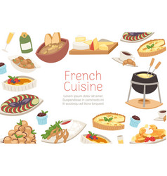 French cuisine national menu france food for vector