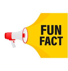 Fun fact feedback megaphone yellow banner in 3d vector