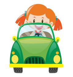 Girl driving green car vector